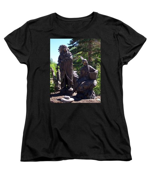 Women's T-Shirt (Standard Cut) featuring the photograph Native American Statue by Chalet Roome-Rigdon