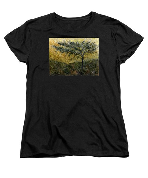 Nature Landscape Green Thorns Acacia Tree Flowers Sunset In Yellow Clouds Sky  Women's T-Shirt (Standard Cut) by Rachel Hershkovitz