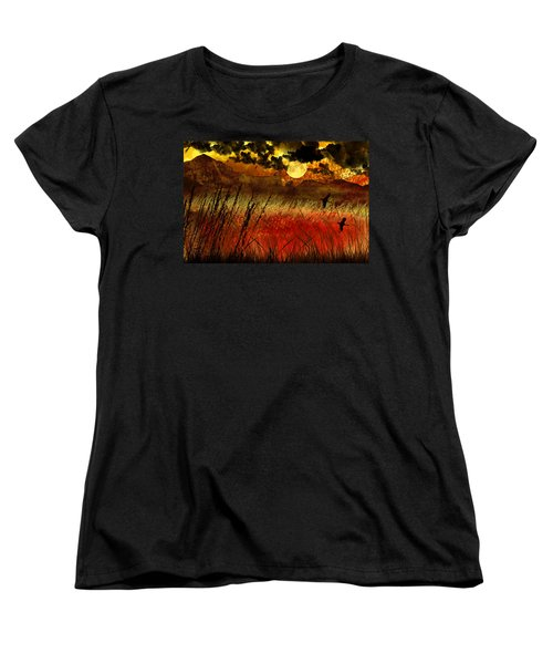 Night Falls Over The Land Women's T-Shirt (Standard Cut) by Ellen Heaverlo