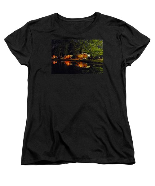 Nighttime In The Campground Women's T-Shirt (Standard Cut) by Kay Lovingood