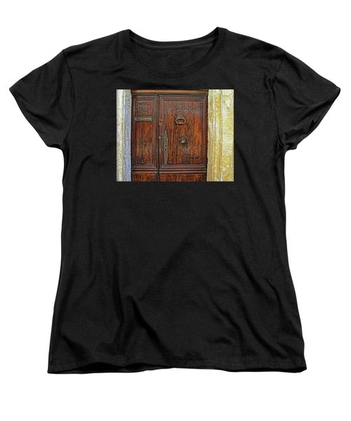 Women's T-Shirt (Standard Cut) featuring the photograph Old Door Study Provence France by Dave Mills