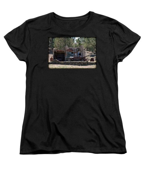 Women's T-Shirt (Standard Cut) featuring the photograph Old Filling Station by Athena Mckinzie