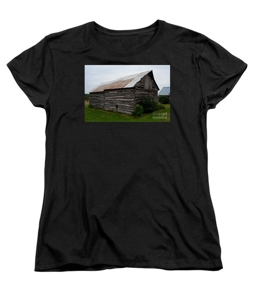 Women's T-Shirt (Standard Cut) featuring the photograph Old Log Building by Barbara McMahon