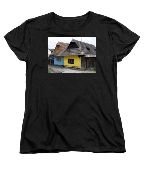 Women's T-Shirt (Standard Cut) featuring the photograph Old Wooden Homes by Les Palenik