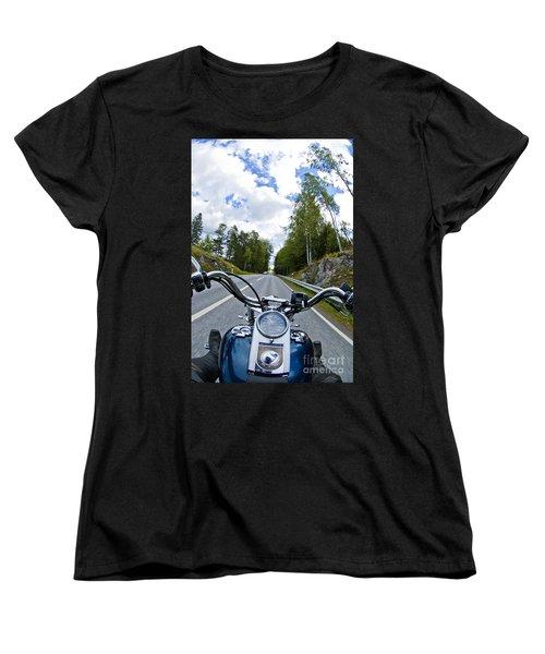 On The Bike Women's T-Shirt (Standard Cut) by Micah May