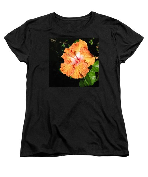 Women's T-Shirt (Standard Cut) featuring the photograph Orange Hibiscus After The Rain 1 by Connie Fox