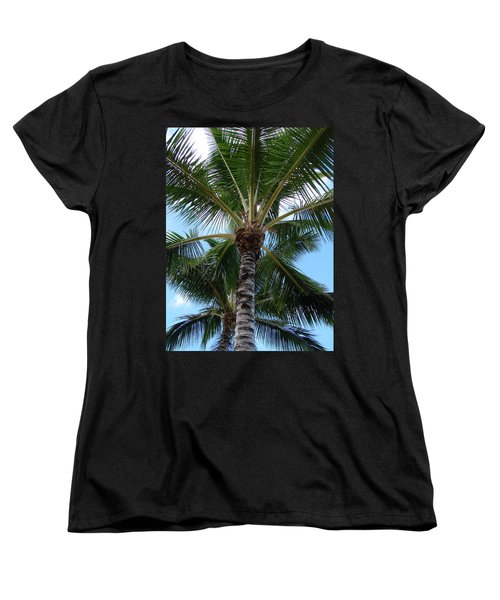 Women's T-Shirt (Standard Cut) featuring the photograph Palm Tree Umbrella by Athena Mckinzie