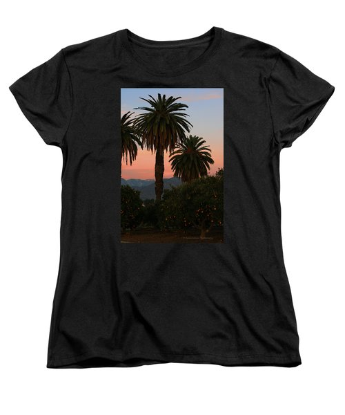Palm Trees And Orange Trees Women's T-Shirt (Standard Cut) by Dorothy Cunningham