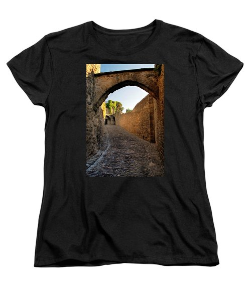 Women's T-Shirt (Standard Cut) featuring the photograph Pathway Through Gordes France by Dave Mills