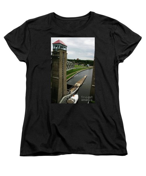 Women's T-Shirt (Standard Cut) featuring the photograph Peterborough Lift Lock by Alyce Taylor