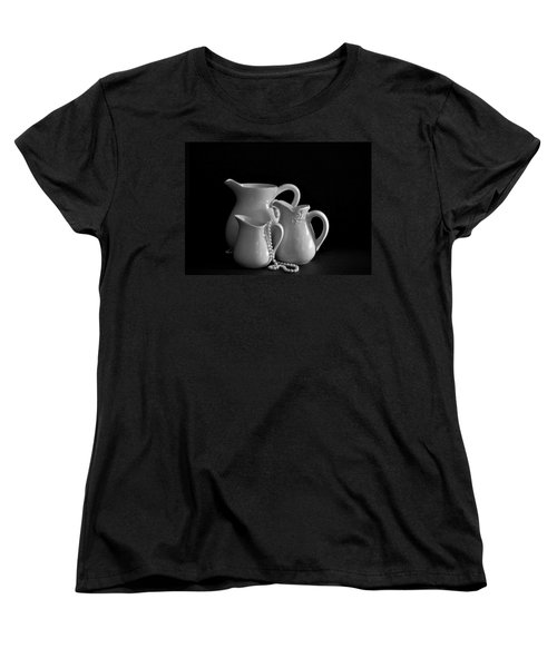 Women's T-Shirt (Standard Cut) featuring the photograph Pitchers By The Window In Black And White by Sherry Hallemeier
