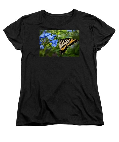 Women's T-Shirt (Standard Cut) featuring the photograph Plumbago And Swallowtail by Steven Sparks