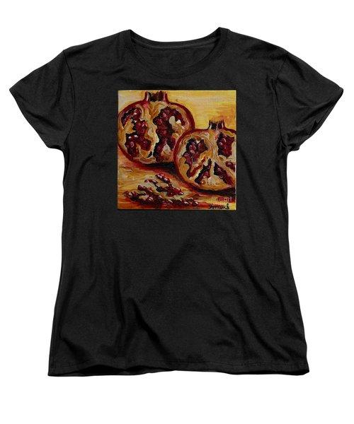 Women's T-Shirt (Standard Cut) featuring the painting Pomegranate by Karen  Ferrand Carroll
