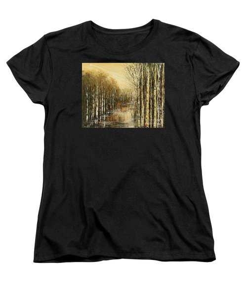 Women's T-Shirt (Standard Cut) featuring the painting Pond Security by Tatiana Iliina