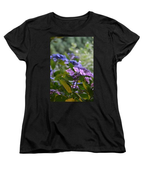 Purple And Green Women's T-Shirt (Standard Cut) by Bonnie Myszka