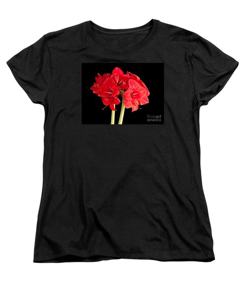 Women's T-Shirt (Standard Cut) featuring the photograph Red Amaryliss by Les Palenik