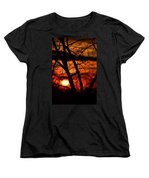 Red And Gold Women's T-Shirt (Standard Cut) by Bonnie Myszka