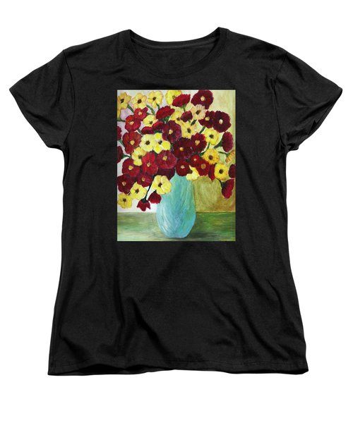 Red And Yellow Bouquet In Blue Women's T-Shirt (Standard Cut) by Christy Saunders Church