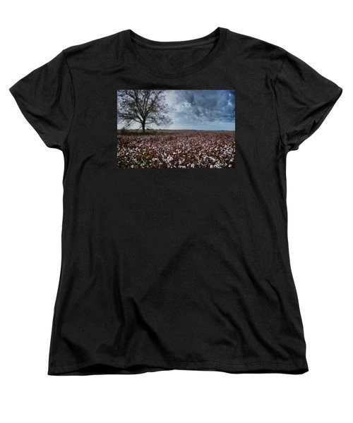 Red Cotton And The Tree Women's T-Shirt (Standard Cut) by Michael Thomas