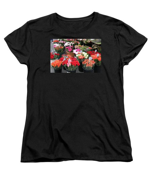 Women's T-Shirt (Standard Cut) featuring the photograph Red Flowers In French Flower Market by Carla Parris
