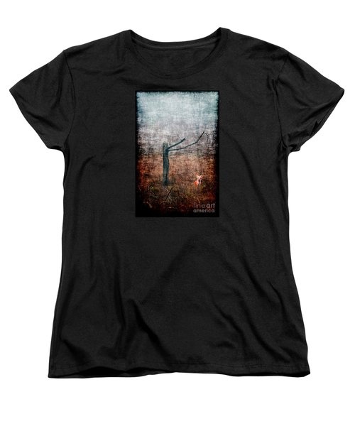Women's T-Shirt (Standard Cut) featuring the photograph Red Fox Under Tree by Dan Friend