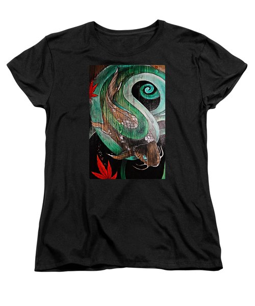 Women's T-Shirt (Standard Cut) featuring the painting Red Leaves Leaving by Sandro Ramani