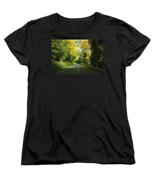 Road Through Autumn Women's T-Shirt (Standard Cut) by Kathleen Grace