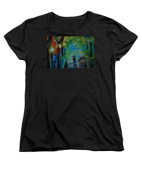 Women's T-Shirt (Standard Cut) featuring the painting Romantic Stroll Series 1 by Leslie Allen