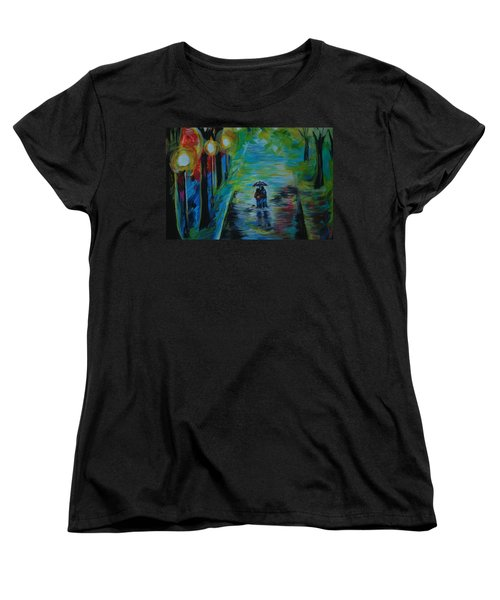 Women's T-Shirt (Standard Cut) featuring the painting Romantic Stroll Series II by Leslie Allen