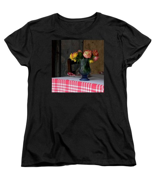 Women's T-Shirt (Standard Cut) featuring the photograph Roses In Blue Glass Vase by Lainie Wrightson