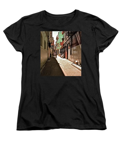 Women's T-Shirt (Standard Cut) featuring the photograph San Fran Chinatown Alley by Bill Owen