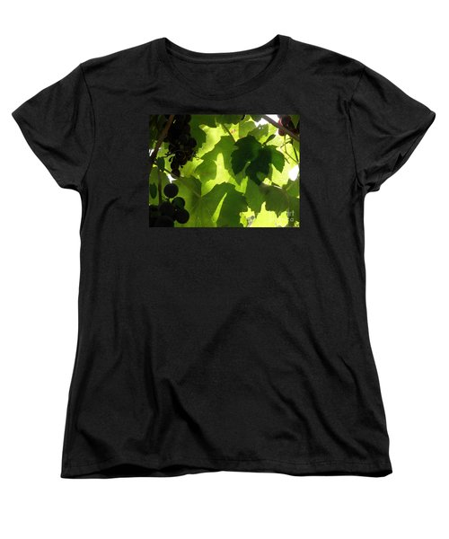 Women's T-Shirt (Standard Cut) featuring the photograph Shadow Dancing Grapes by Lainie Wrightson