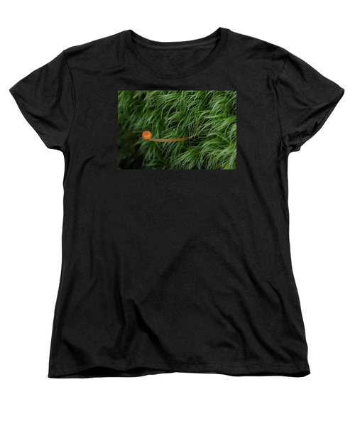 Women's T-Shirt (Standard Cut) featuring the photograph Small Orange Mushroom In Moss by Daniel Reed