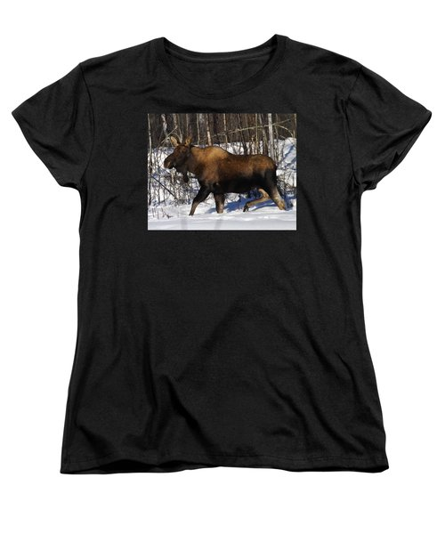 Women's T-Shirt (Standard Cut) featuring the photograph Snow Moose by Doug Lloyd