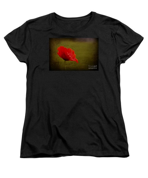 Women's T-Shirt (Standard Cut) featuring the photograph Solitary Poppy. by Clare Bambers