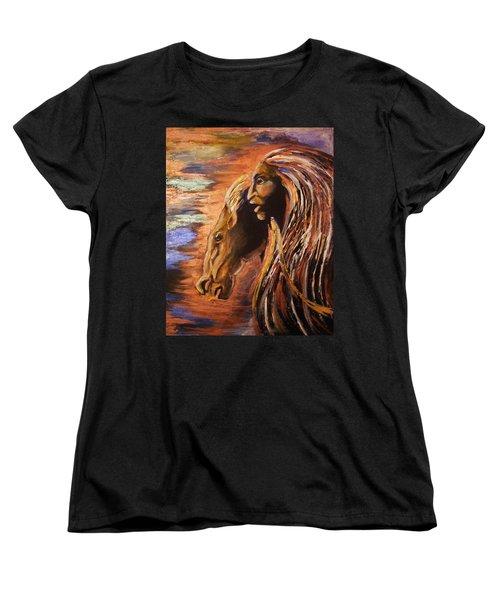 Women's T-Shirt (Standard Cut) featuring the painting Soul Of Wild Horse by Karen  Ferrand Carroll