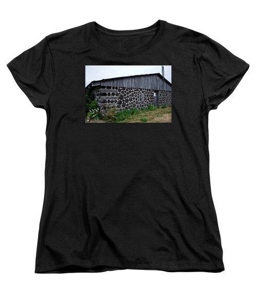 Women's T-Shirt (Standard Cut) featuring the photograph Stacked Block Barn by Barbara McMahon
