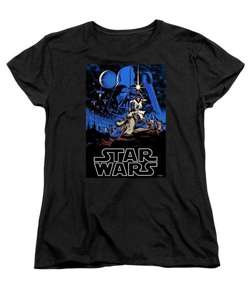 Star Wars Poster Women's T-Shirt (Standard Cut) by George Pedro