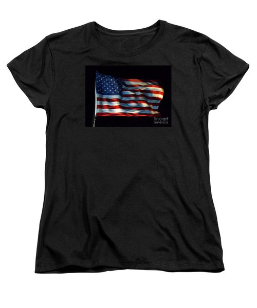 Stars And Stripes At Night Women's T-Shirt (Standard Cut) by Kevin Fortier