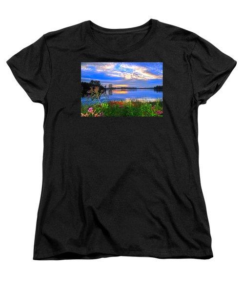 Women's T-Shirt (Standard Cut) featuring the photograph Summertime Walk Around Lake  by Randall Branham