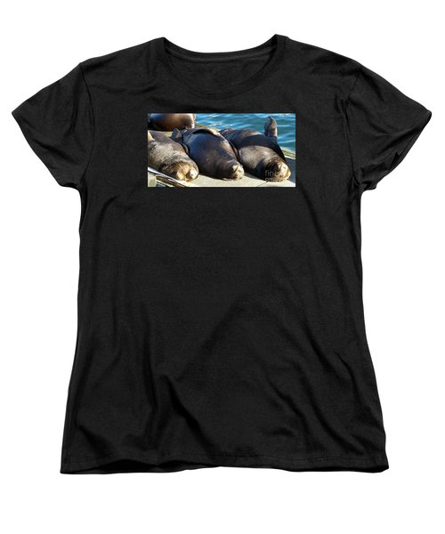 Women's T-Shirt (Standard Cut) featuring the photograph Sunbathing Sea Lions by Chalet Roome-Rigdon
