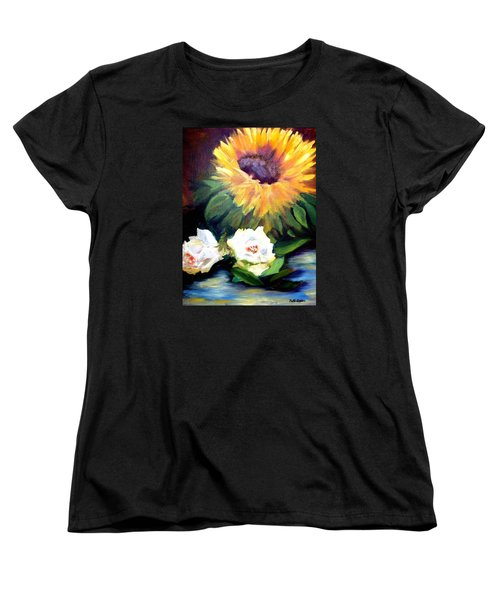 Sunflower And White Roses Women's T-Shirt (Standard Cut) by Patti Gordon