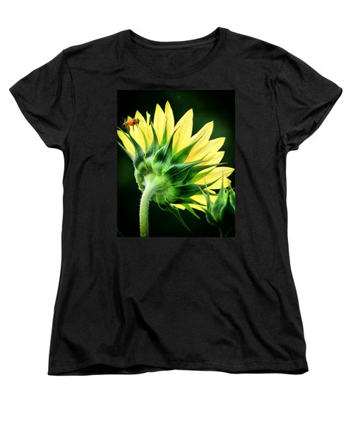 Women's T-Shirt (Standard Cut) featuring the photograph Sunflower With Bee by Lynne Jenkins