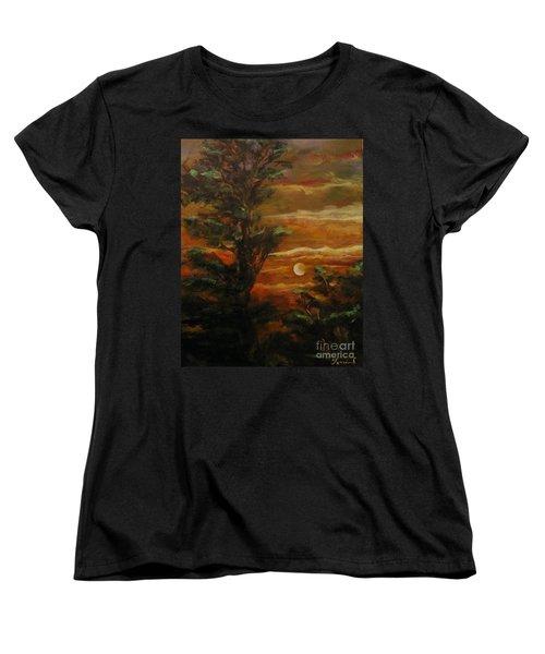 Women's T-Shirt (Standard Cut) featuring the painting Sunset  by Karen  Ferrand Carroll