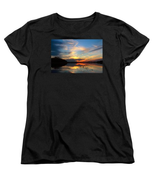 Women's T-Shirt (Standard Cut) featuring the photograph Sunset Over Calm Lake by Daniel Reed