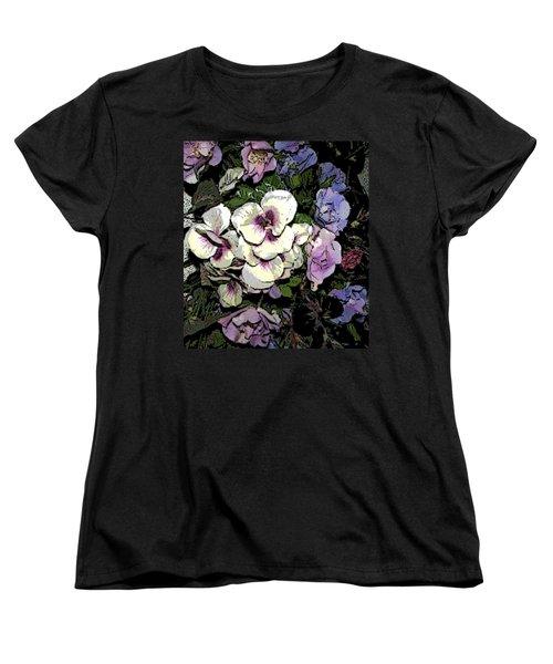 Surrounding Pansies Women's T-Shirt (Standard Cut) by Pamela Hyde Wilson