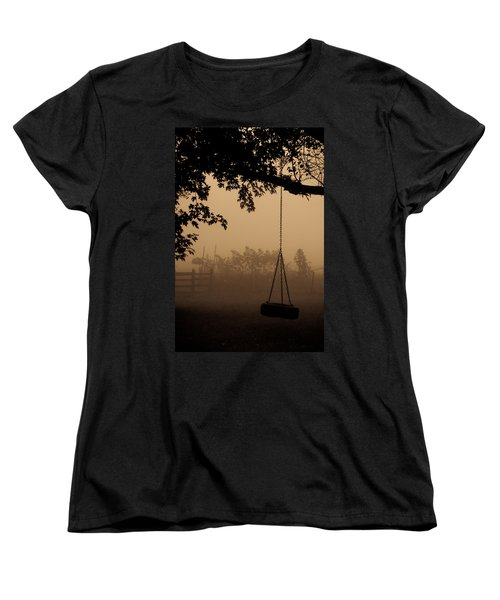 Women's T-Shirt (Standard Cut) featuring the photograph Swing In The Fog by Cheryl Baxter