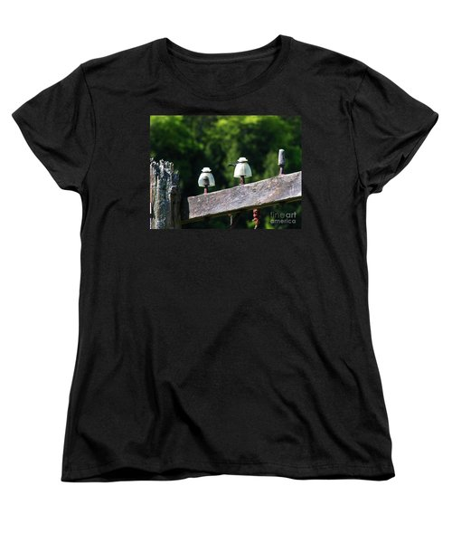 Women's T-Shirt (Standard Cut) featuring the photograph Telephone Pole And Insulators by Sherman Perry