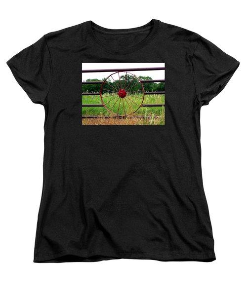 Women's T-Shirt (Standard Cut) featuring the photograph Texas Wildflowers Through Wagon Wheel by Kathy  White