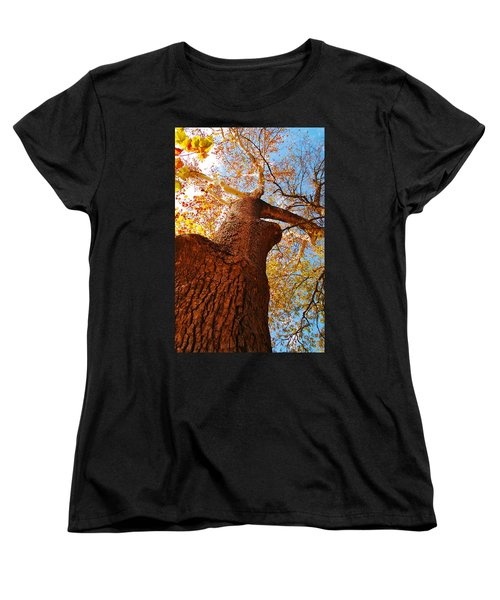 Women's T-Shirt (Standard Cut) featuring the photograph The Deer  Autumn Leaves Tree by Peggy Franz